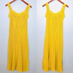 Zara Knit Sleeveless Marigold Midi Dress Sz S